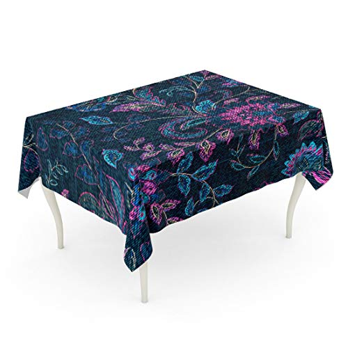 Blue In Denim 90 Jean - Tarolo Rectangle Tablecloth 60 x 90 Inch Jeans Blue Denim Colorful Floral Indigo Abstract Beautiful Beauty Blossom Table Cloth