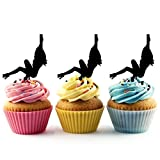 TA0118 Sexy Girl Pole Dance Sexy Silhouette Party Wedding Birthday Acrylic Cupcake Toppers Decor 10 pcs