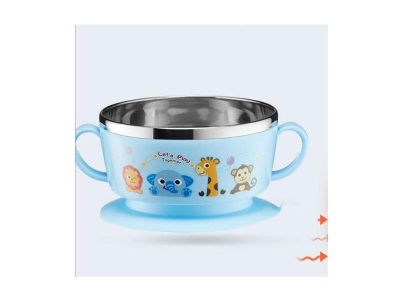 Yuchoi Contemporary Animal Pattern Baby Feeding Bowl Anti-Scald Stainless Steel Children Dish Insulation Bowl with Lid and Double Handles for Kids Students(Blue) by Yuchoi (Image #2)