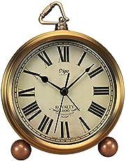 Golden Table Clock, Attoe Retro Vintage Non-Ticking Table Desk Alarm Clock Battery Operated Silent Quartz Movement HD Glass for Bedroom Living Room Indoor Decoration Kids