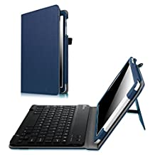Fintie Samsung Galaxy Tab E 9.6 Keyboard Case - Slim Fit PU Leather Stand Cover with Premium Quality [All-ABS Hard Material] Removable Wireless Bluetooth Keyboard, Navy