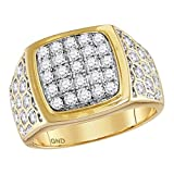 Mens Diamond Honeycomb Ring Solid 14k Yellow Gold Square Frame Fashion Band Round Pave Set 1-3/4 ctw