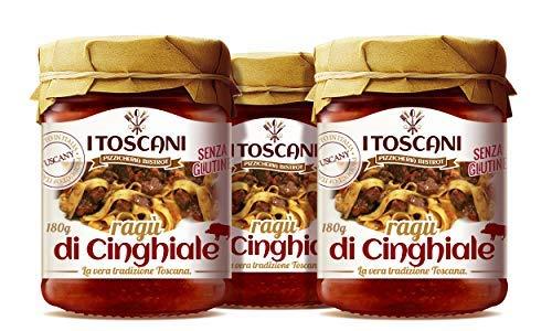 Salsa de jabalí, Ragù di cinghiale, 3 paquetes de 180 g i Toscani: tomate