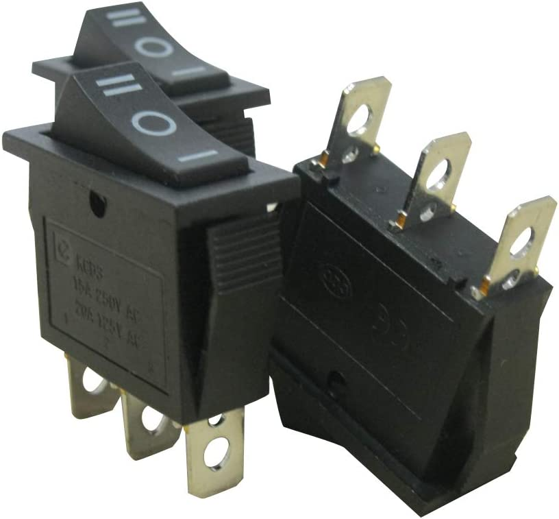 Nero ON//off//Un SPDT 3 Pin 3 Position Mini Boat Rocker Switch Auto Boat Rocker Interruttore a levetta Snap KCD3-103-BK 125V // 20A Quality Assurance for 1 Years Taiss // 8Pcs AC 250V // 15A