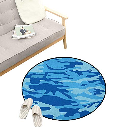 Camouflage Round Area Rug Non-Slip ,Abstract Camouflage