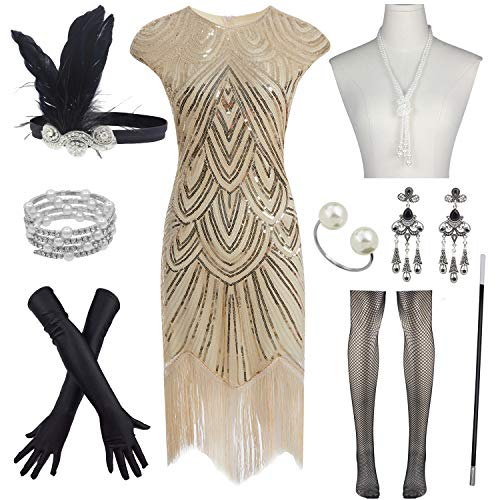 Women's Flapper Dresses 1920s Beaded Fringed Great Gatsby Dress w/Accessories Set (M, Gold)