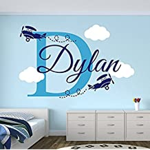 Wall Decal Letters Personalized Name Airplanes Wall Decal - Boy Name Wall Decal Kids Room Decor - Clouds Wall Decal Nursery Decor (40Wh)for Living Room
