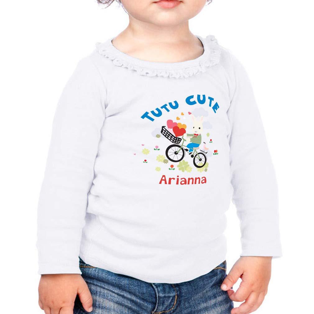 Personalized Biking Tutu Cute Cotton Toddler Long Sleeve Ruffle Shirt Top