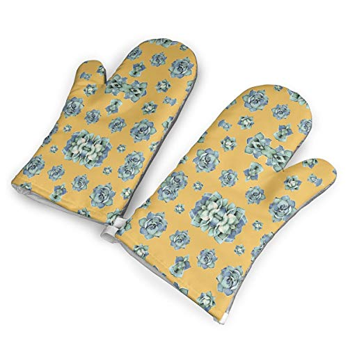 Ubnz17X 2' Happy Day Cactus Denim Wash Mustard Giftwrap (174) Heat Resistant Kitchen Oven Mitts/Mitt of 1 Pair for Home Kitchen Cooking Barbecue Microwave