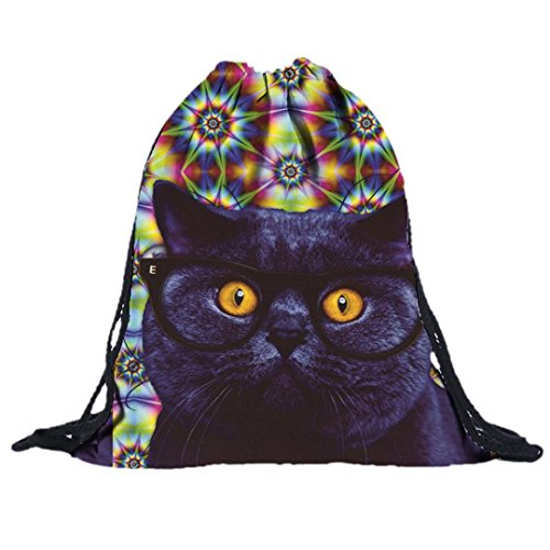 Price comparison product image AMA(TM) Women Men Animal Drawstring Backpack 3D Printing Shoulder Bags Rucksack (F)