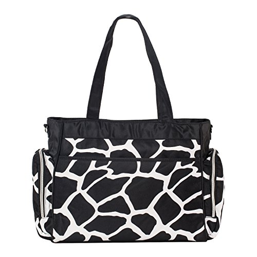 SoHo diaper bag Little Giraffe 8 pieces set nappy tote bag large capacity for baby mom dad stylish insulated unisex multifunction waterproof includes changing pad stroller straps ()