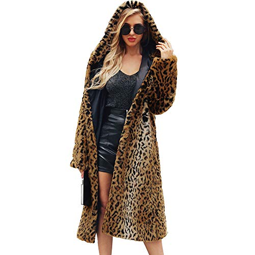 iDWZA Ladies' Winter Warm Leopard Faux Fur Long Coat Jacket Parka Outerwear(2XL,Yellow) ()