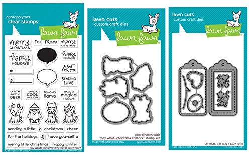 Lawn Fawn Say What? Christmas Critters Clear Stamps, Coordinating Dies and Coordinating Say What Gift Tags, Bundle of Three Items (LF1778, LF1779, LF1780) by Lawn Fawn