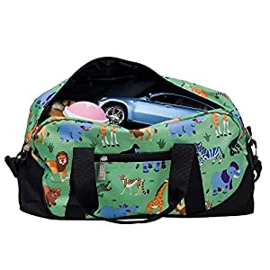 Wildkin Overnighter Duffel Bag, Features Moisture-Resistant Lining and Padded Shoulder Strap, Perfect for Sleepovers, Sports Practice, and Travel, Olive Kids Designs – Wild Animals