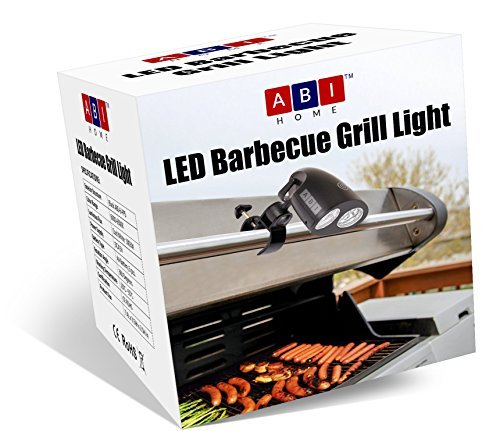 Barbecue Grill Light - BBQ Grill Light by ABI Home - 10 Super Bright LED Lights Adjustable To 3 Levels - 3 AA Batteries - FREE Screwdriver - Heat Resistant Metal Clip - 360 Swivel Head   BUY NOW!