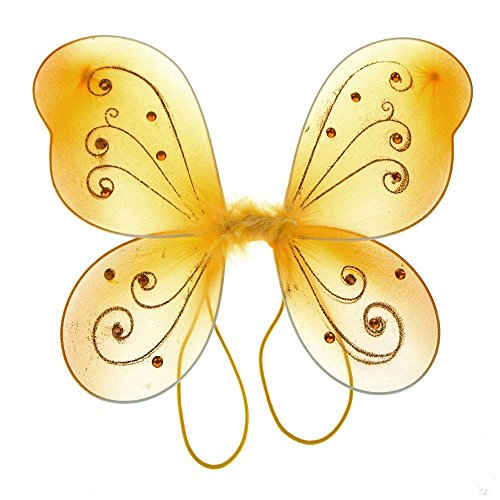 Homeford Firefly Imports Organza Nylon Butterfly Wings with Glitters, 12-Inch, Gold,]()