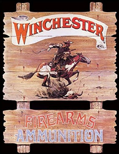 Winchester Firearms Ammunition Cowboy on Horse Rider Tin Sign 13 x 16in