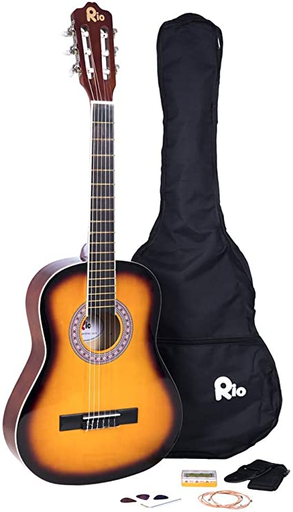 Río 3/4 tamaño Paquete de guitarra clásica para niños traje de ...