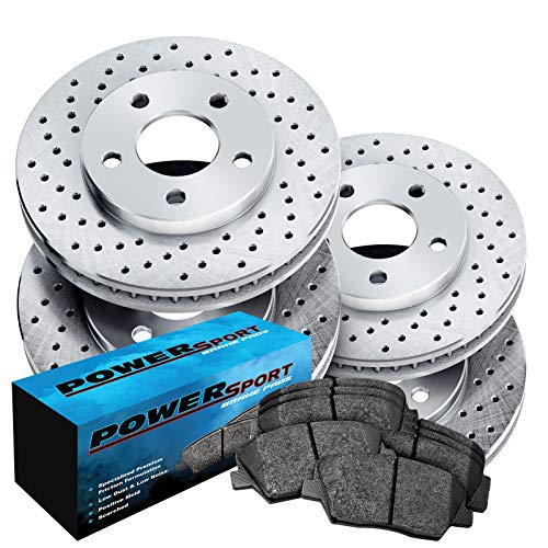 Front Black Hart Drilled Slotted Brake Rotors and Ceramic Pads 9-7x,Trailblazer