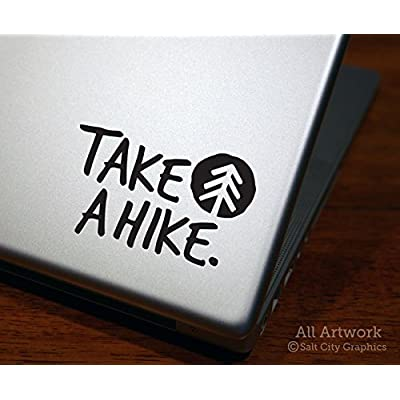 Salt City Graphics Take a Hike Decal, Hiking Sticker - Pine Tree, Outdoors, Nature - Laptop Decal, Decal for MacBook, Tablet Sticker (4 inches Wide, Black): Computers & Accessories