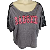 Glitter Gear Wisconsin Badgers Official NCAA Loose-fitting Raglan Style Shirt W/Lace Insets In The Sleeves Sleeved Tee S by