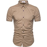 MUSE FATH Men's Printed Dress Shirt-Cotton Casual Short Sleeve Regular Fit Shirt