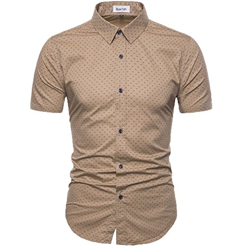 MUSE FATH Men's Printed Dress Shirt-100% Cotton Casual Short Sleeve Shirt- Button Down Point Collar Shirt-Khaki-M