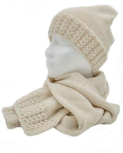Alpaca Gloves - Hat - Scarf and Gloves 3-Piece hand made 100% Baby alpaca fur (Off White)