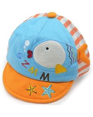 Fish Breathable Infant Beaked Cap Baby Boy Sun Protection Hat Toddler Cap Orange
