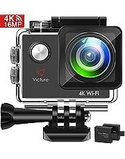 Victure AC600 Action Cam 4K WiFi Kamera Unterwasserkamera 16MP Ultra HD Sport Camera Wasserdicht für 30M Helmkamera 170 ° Weitwinkelobjektiv mit 2 Verbesserten Batterien und Kostenlose Zubehör Kits