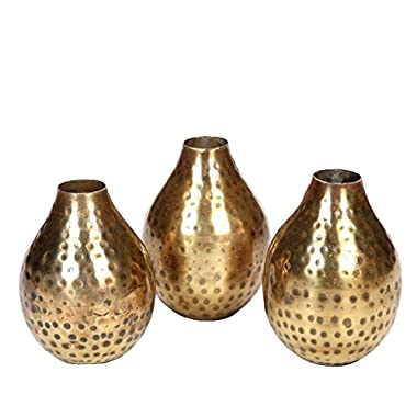 Hosley's Set of 3 Antique Bronze Metal Bud Vases - 4.5  High. Ideal GIFT for Wedding, Bridal, Home, Study, Spa or Aromatherapy