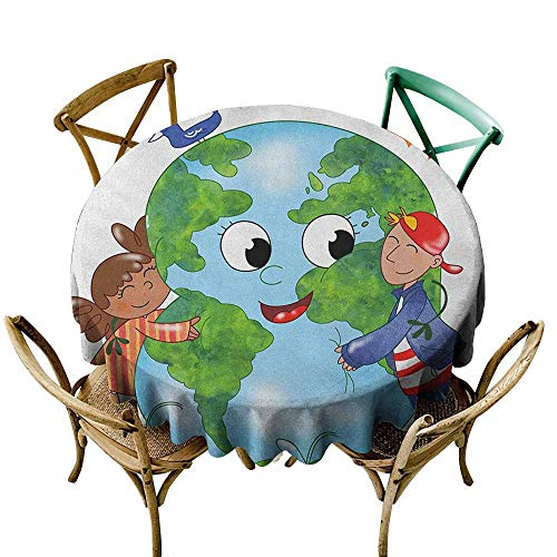 Indoor/Outdoor Round Tablecloth Earth Two Cute Kids Hugging Happy Planet Earth Bird and Hearts Embracing in Cartoon Style Multicolor Table Cover for Kitchen Dinning Tabletop Decoratio 50 -