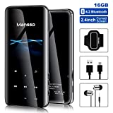 Mp3 Player, Mansso 16GB MP3 Players with Bluetooth 4.2, Portable HiFi Lossless Sound Music Player with 2.4'' Curved Screen, FM Radio Voice Recorder E Book, Expandable up to 128 GB (Black)