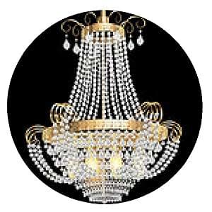 alfombrilla de ratón Lámpara con colgantes de cristal en el negro - ronda - 20cm