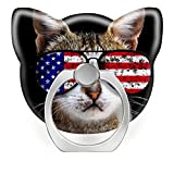 360°Rotation Grip Mobile Phone Finger Ring Holder for All Smartphone and Tablets with Car Mount Stand cat with American Flag