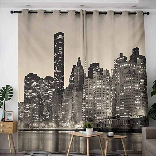 Waterproof Window Curtains,New York Manhattan Skyline at Night East River Panoramic Famous City Urban Life in USA,Curtains for Living Room,W72x108L,Sepia Black]()