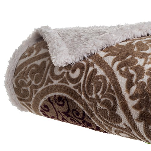 Bedford Home Printed Coral Soft Fleece Sherpa Throw Blanket, Brown ()