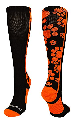 MadSportsStuff Crazy Socks with Paws Over The Calf (Black/Orange, Small)