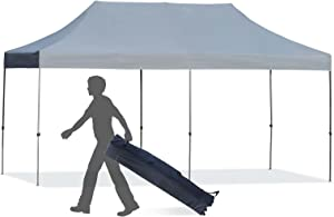 Outsunny 10' x 20' Heavy Duty Pop Up Canopy with 3-Level Adjustable Height, Wheeled Roller Bag, UV Fighting Roof, Grey