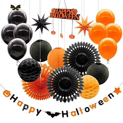 YANWIN Halloween Party Decoration Kit, Happy Halloween Banner & Door Hanger, Paper Fan Flowers, 3D Paper Stars, Honeycomb Tissue Balls, Paper Lanterns & Balloons