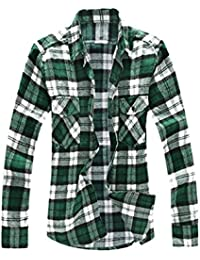 Men Plaids Flannel Shirt w Flap Pockets