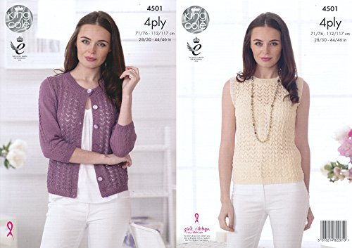 King Cole Ladies 4 Ply Knitting Pattern Womens Lace Effect Cardigan & Top Giza Cotton (4501) by King Cole by King Cole