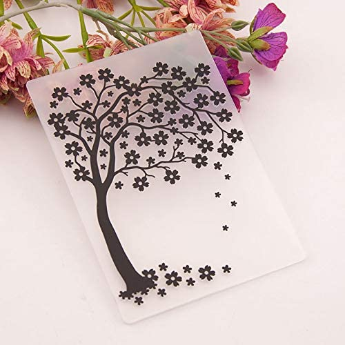 Welcome to Joyful Home 1PC Bloom Tree Background Background Embossing Folder for Card Making Floral DIY Plastic Scrapbooking Photo Album Card Paper DIY Craft Decoration Template Mold 10.5x14.5cm