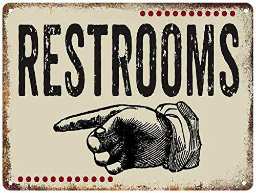 Restrooms Sign Light Putty Restaurant Decor Wall Art Vintage Bathrooms Restroom Decorations Arrow Pointer Signs 9x12 Metal 109120001003