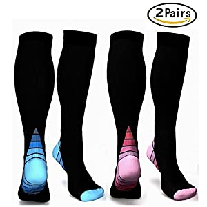Graduated Compression Socks for Men & Women, BEST Athletic Fit for Running, Cycling, Nurses, Shin Splints, Air Travel,Foot Support & Maternity Pregnancy. Boost Stamina, Circulation, & Recovery -2 Pair