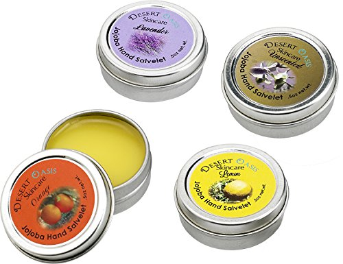 Artisan Jojoba Oil Hand Salve travel size Sample Pack, 4 different mildly scented units .5 oz (14 gm) packs, All Natural and Hand Made, Lemon, Orange,…
