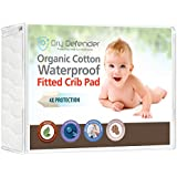 Organic Cotton Waterproof Fitted Crib Pad - Natural Baby Crib Mattress Cover & Protector - Unbleached, Non-Toxic & Hypoallergenic