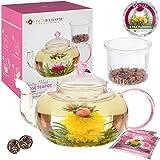 Teabloom Princess of Monaco Teapot & Blooming Tea Gift Set (6 Pieces) - Borosilicate Glass Teapot (34oz/1000ml), Porcelain Lid, Teapot Warmer,...