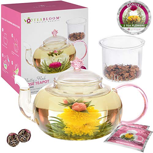 - Teabloom Rose Teapot Set - 34 oz Borosilicate Glass Teapot, Glass Tea Infuser, 2 Flowering Teas - Thermal Shock Resistant - Stovetop, Microwave, Dishwasher Safe - Pretty in Pink