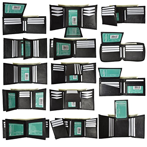 New-Black-Brown-wholesale-lot-of-24-Premium-leather-BifoldTrifold-wallets-by-Marshal